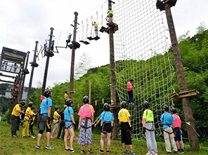 high rope course, climbing wall, amusement  park