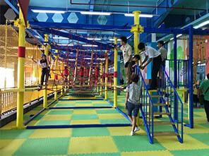 adventure playground ropes, low ropes course, indoor ropes course