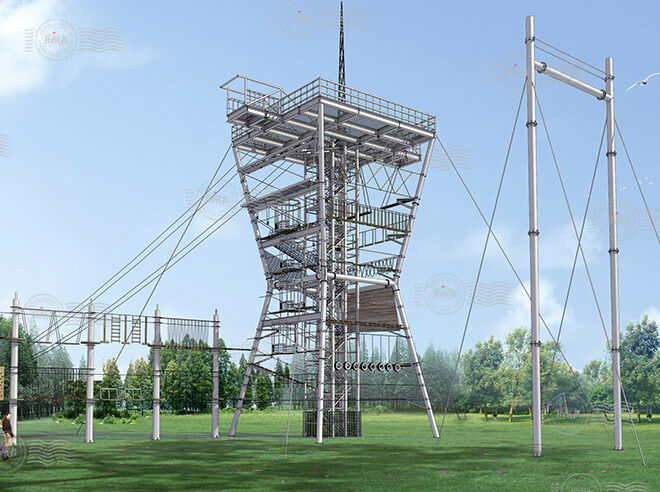 Challenge Adventure Tower, high ropes challenge course, high wire course, sky ropes