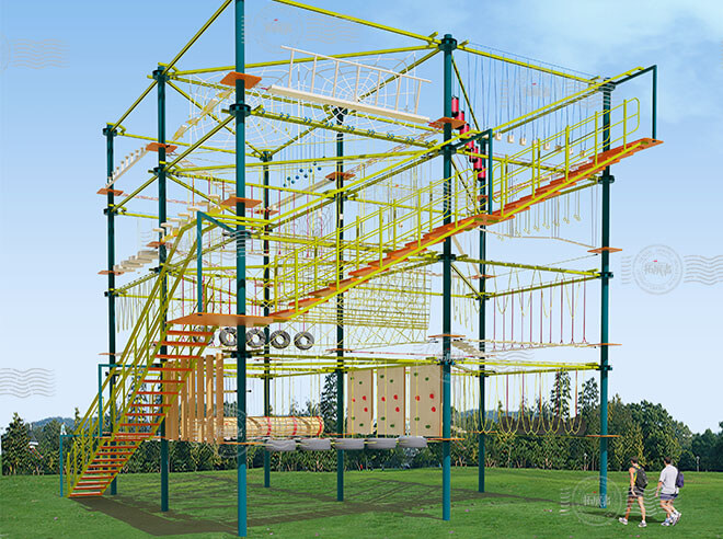 aerial ropes course, high ropes challenge course, outdoor adventure courses, high ropes adventure