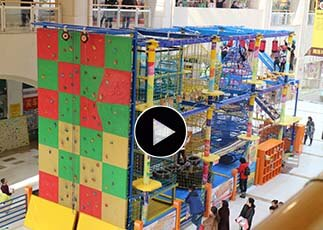 Indoor High Ropes Course Playground, adventure course, challenge course, children's aerial ropes